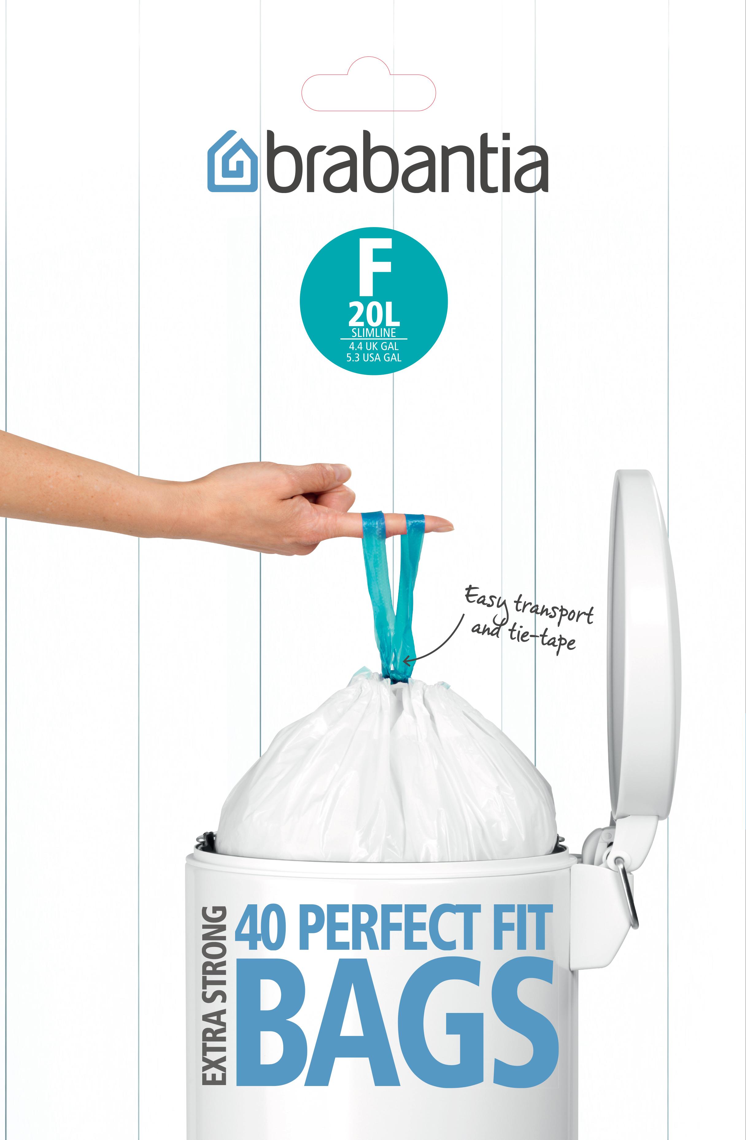 Avfallspåsar F 20Ltr Slimline [Dispenser Pack med 40 påsar] White