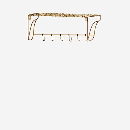 Hylla med krokar 50x20x18 cm Mässing