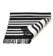 Cotton matta - Black/offwhite, striped, 140x200