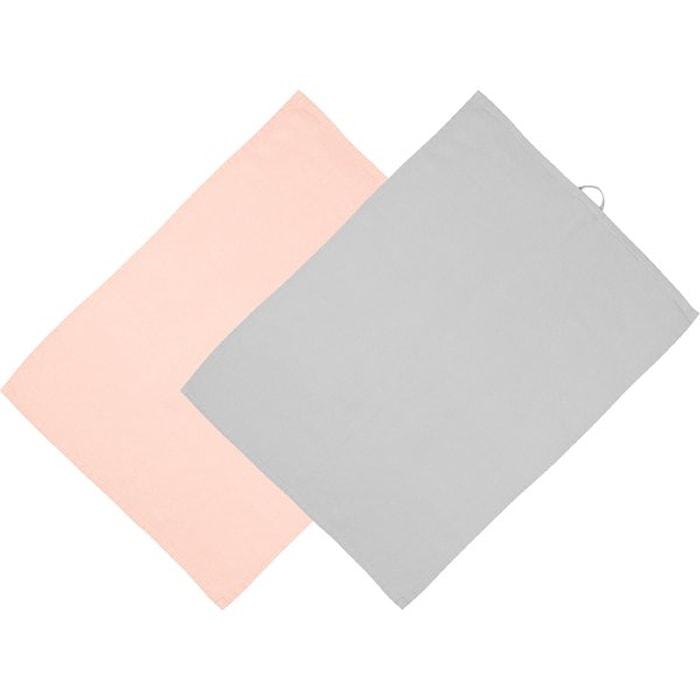 Kjøkkenhåndklær Rosa/Grå 2 pakning 70 x 50 cm