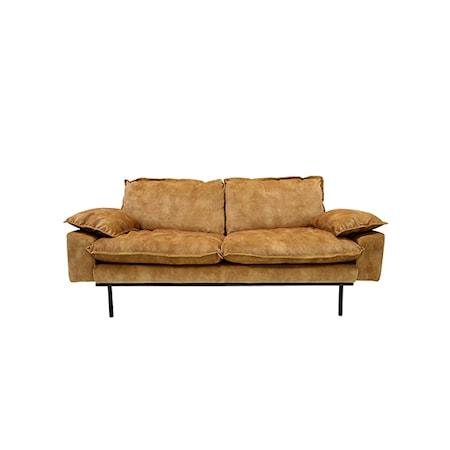 Retro Sofa Fløjl 2-pers Sennepsgul