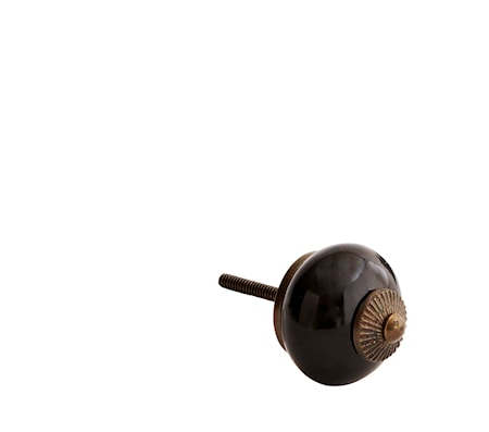 Dørhåndtag Ø 4 cm - Messing/sort