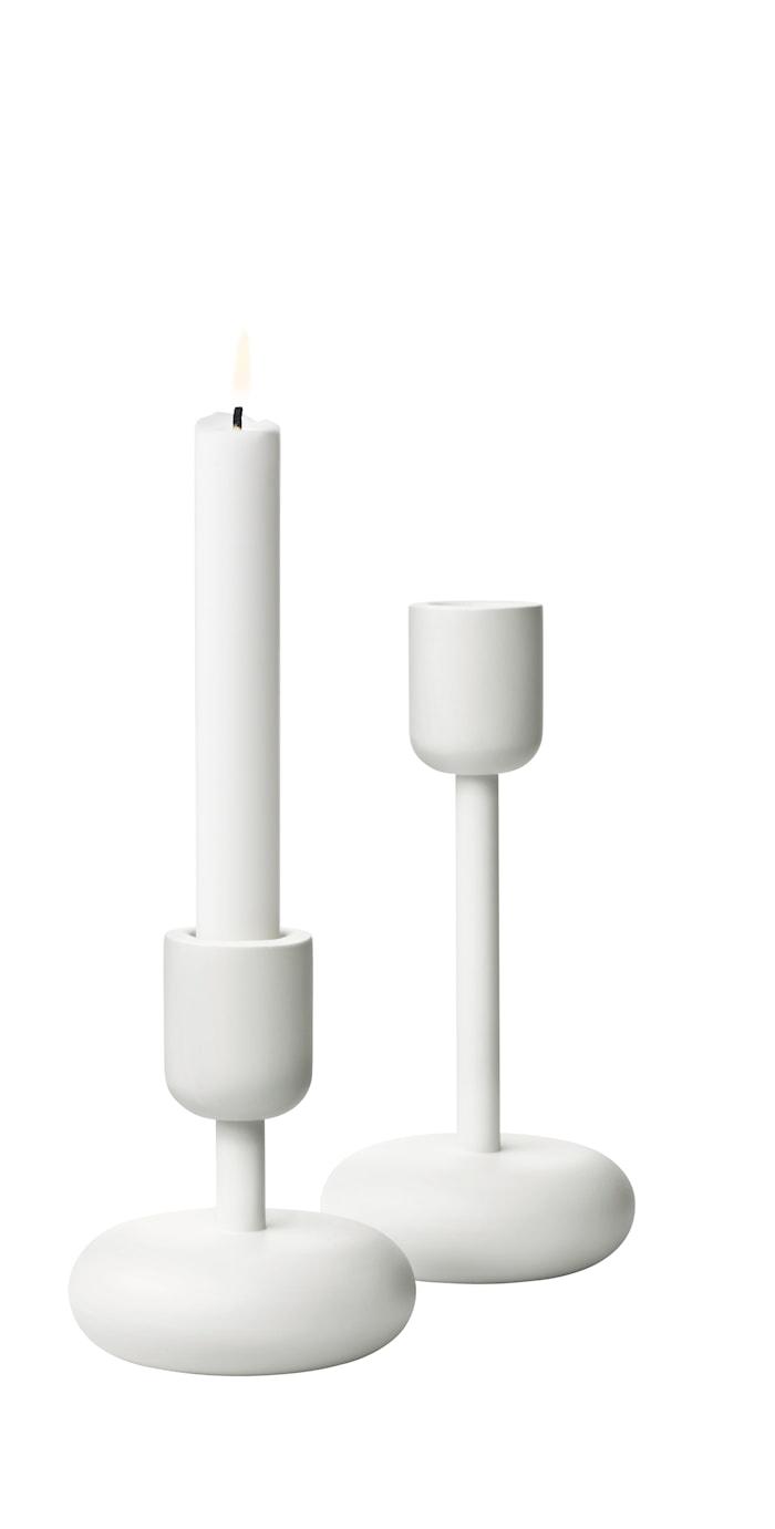 Nappula Kynttilänjalka 107+183 mm Valkoinen 2-pack