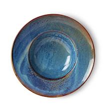 Home Chef Ceramics pasta plate Rustic Blue
