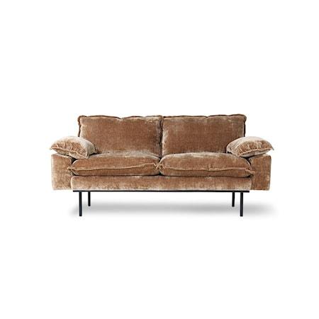 Retro Soffa 2-sits Velvet corduroy aged Gold