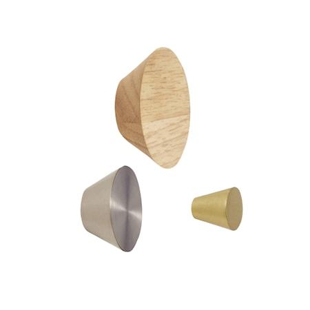 Knopp Metall/trä Nickel/mässing 3 st