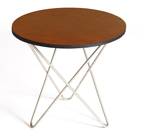 Mini o-table leather Sidebord – Black/brass