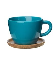 Höganäs Keraaminen Teekuppi + puualusta 50 cl, Vihreä