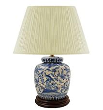 Lampfot, 17,5 cm, blåvit, krackelerad yta, fasaner och blommor