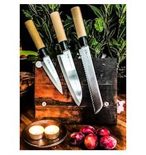 Knivsæt i balsabox. Tre Knive i balsabox. (SVK001, SVK006 og SVK011)