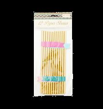 Flagge Strohhalm 12er-Pack Papier Gold
