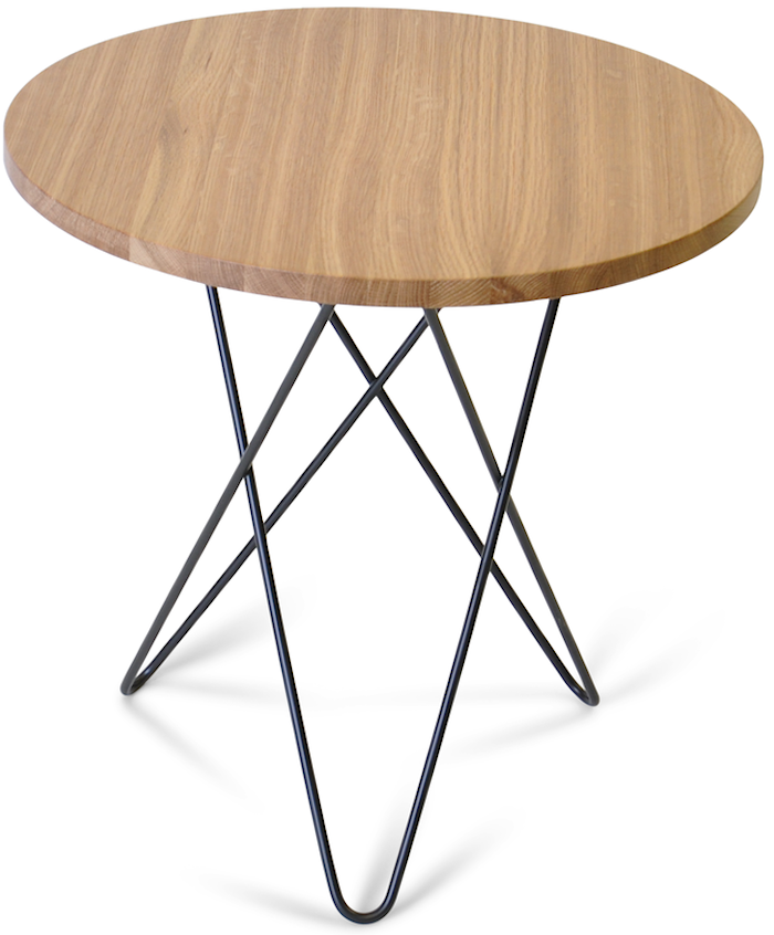 Tall mini O table wood - Oak, black frame
