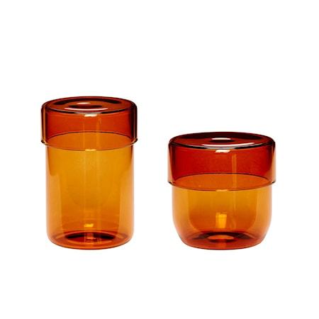 Förvaringsburk Glas Orange 2 st