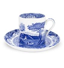 Blue Italian Taza Espresso & Plato 9 cl