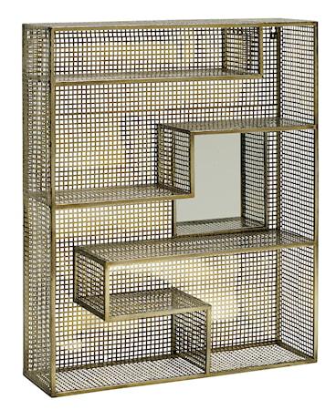 Vägghylla Guld med Spegel 91x75cm