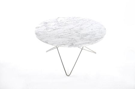 O Table Spisebord Rustfritt Stål/Matt Hvit Marmor Ø100