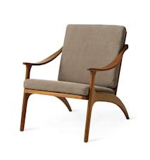 Lean Back Lounge Chair Nabuk Seppia Teak