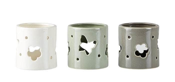 Ljushållare 3 st Presentförpackning Keramik Grå 7x7 cm