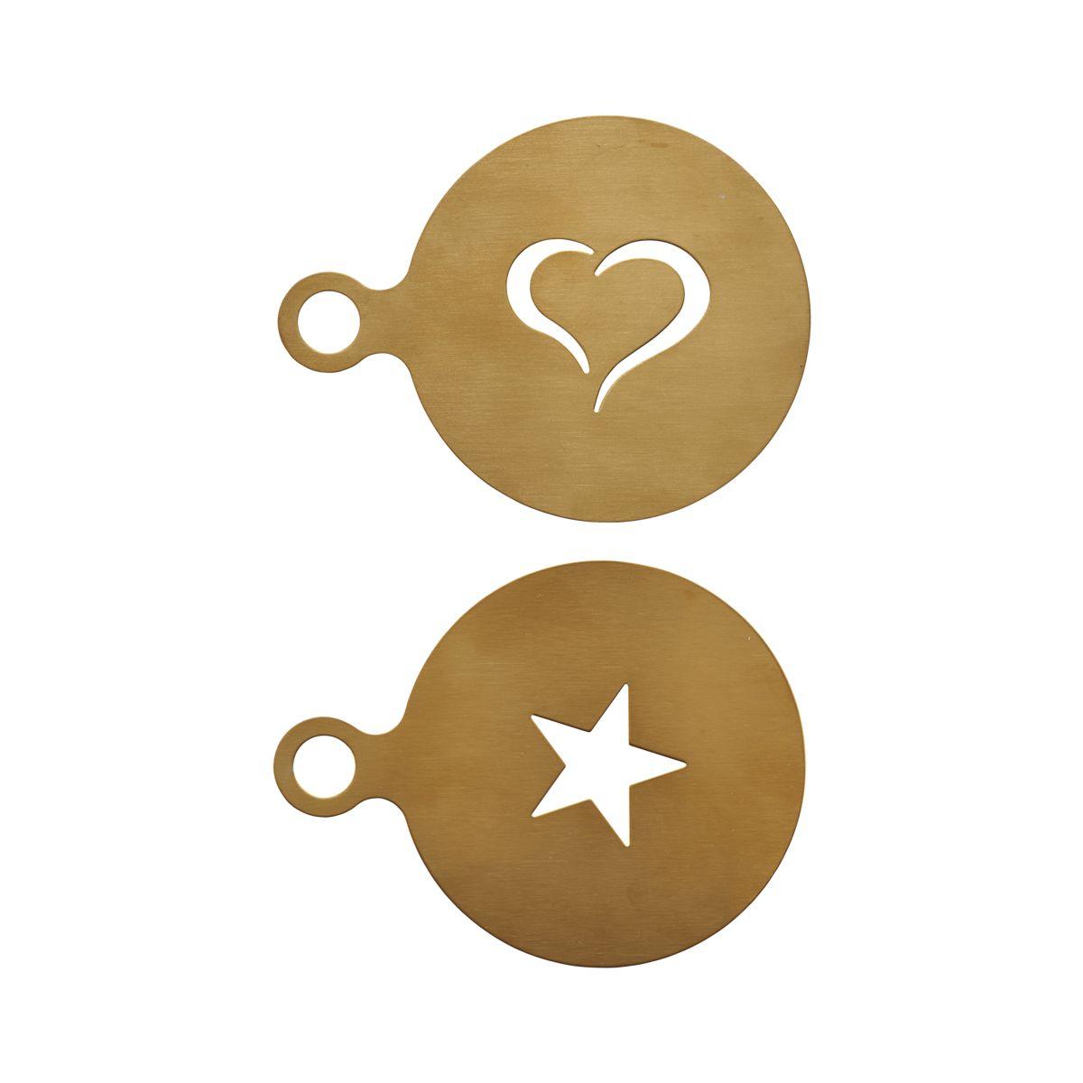 Kaffedekoration Guld Rostfrittstål Set med 2