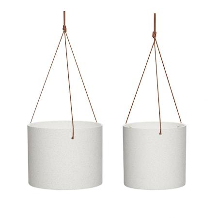 Kruka m/læderrem Keramik hvid s/2