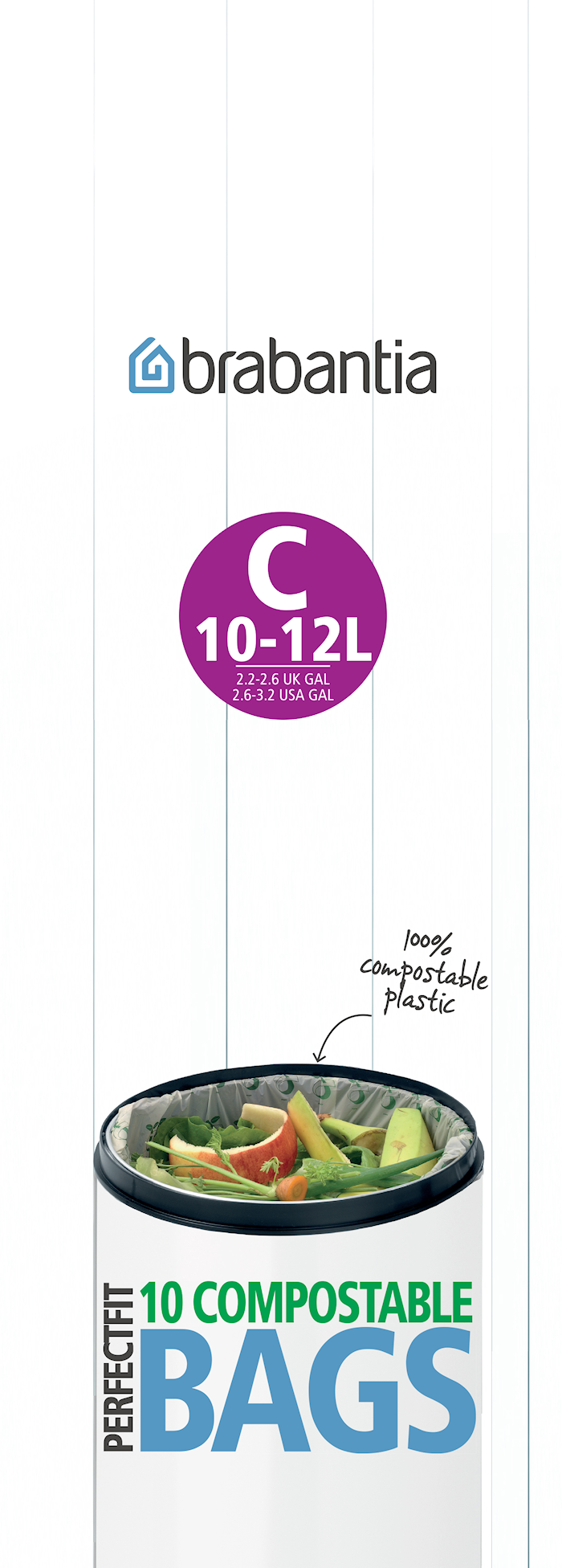 Ympäristöystävällinen roskapussi C 10-12 L 10 kpl Green/White