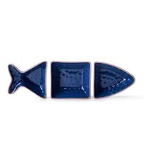Fish serveringsskål 3 delar Blå