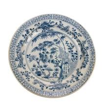 Kyoto Håndmalt Tallerken Blå/Hvit 25x25x3 cm