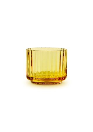 Lyngby Ljuslykta Amber Munblåst Glas Ø6,7 cm