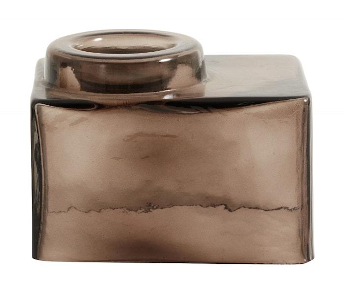 Recipiente para velas cuadrado marrón/transparente