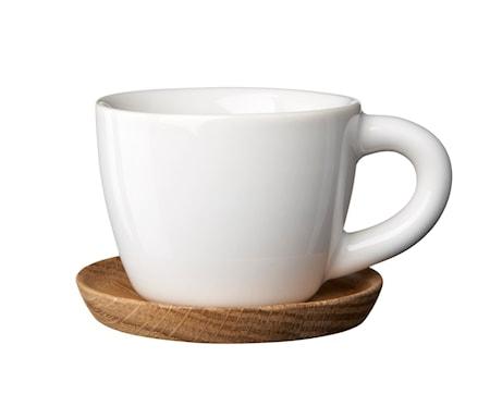 HK Espressokuppi 10 cl, Valkoinen puualustalla