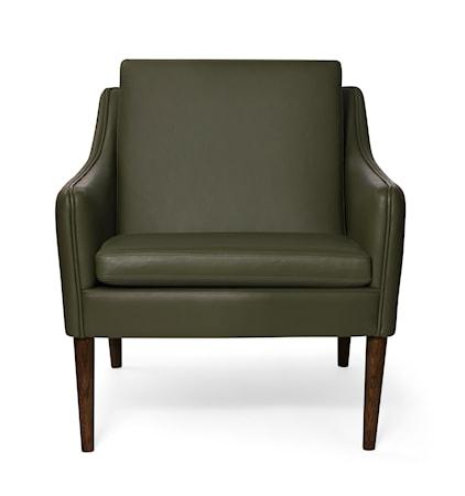 Mr. Olsen Lounge Chair Pickle Green Läder Valnöt