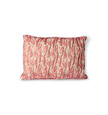 Floral Jacquard Weave Kudde Red/Pink 40x30 cm