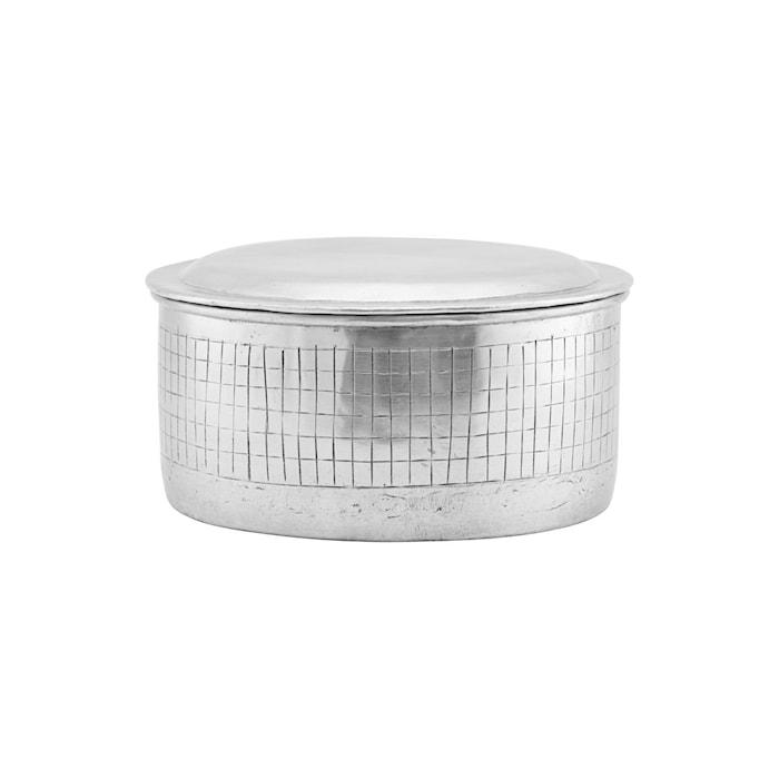 Förvaringslåda med lock, Noova, Silver, h: 10 cm