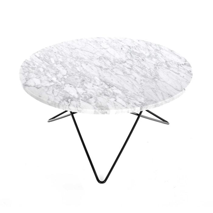 O Table Vit Marmor med Svart Ram Ø80