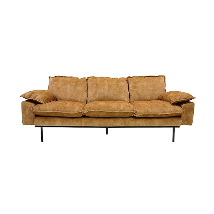 Retro Sofa Fløjl 3-pers Sennepsgul