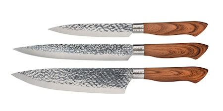 Knife Set Akira Steel Brown Handle 3 parts