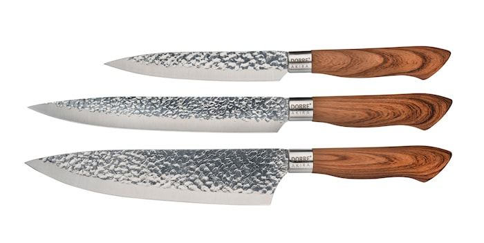 Knivset Akira  i stål brunt handtag 3 delar
