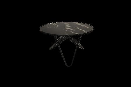 Big O Spisebord Sort/Sort Marmor Ø120 cm