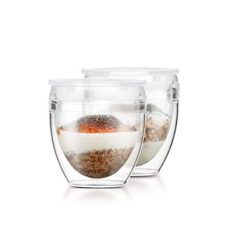 Pavina to go 2 kpl kaksiseinäinen lasi kannella, 0,20 l. BPA-vapaa muovi