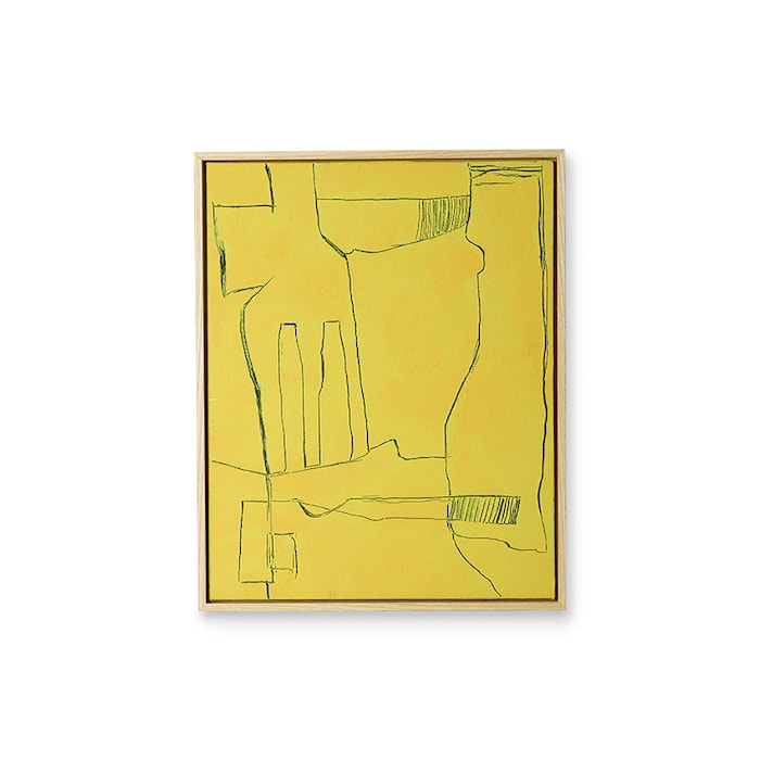 Framed Brutalism Painting Yellow 40x50 cm