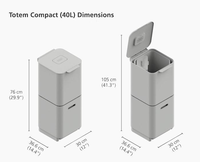 Totem Compact Avfallsorteringsbeholder Grafittgrå 40 L