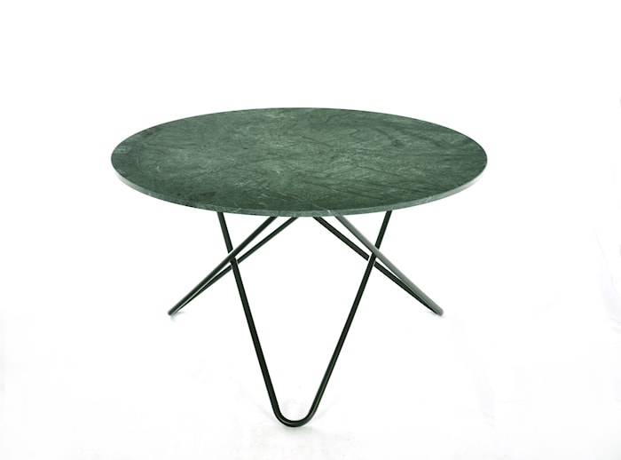 Big O Spisebord Sort/Grøn Marmor Ø120 cm