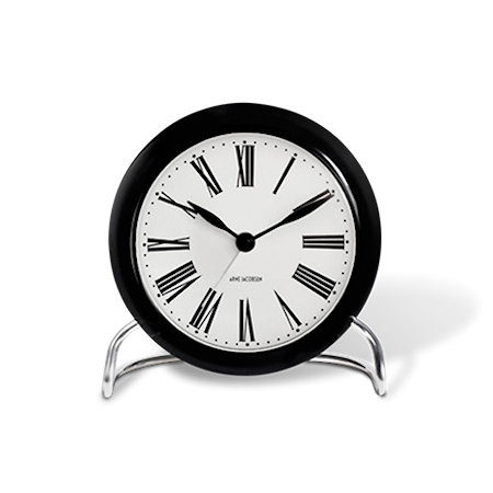 Arne Jacobsen Roman bordur, sort/hvid, Ø 11 cm, alarmfunktion