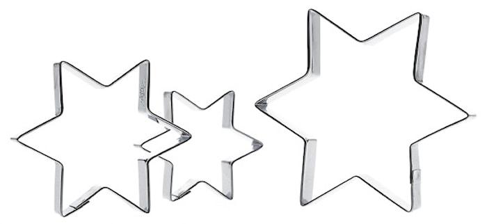Kakform Stjärna 3 st Rostfritt Stål