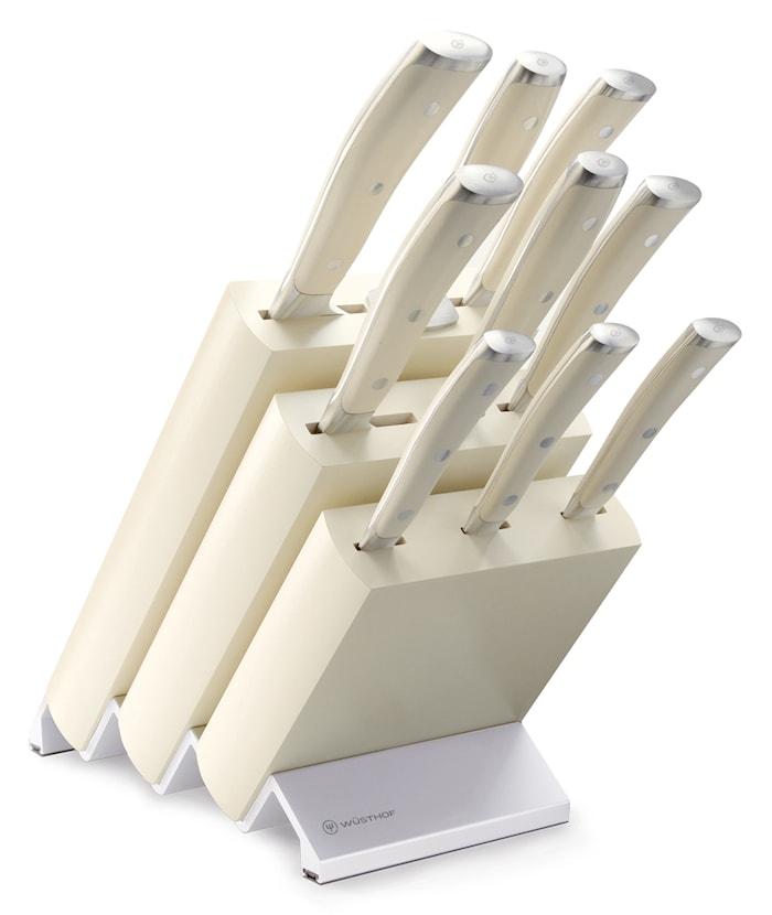CLASSIC IKON Knivblokk Sett 9 deler Creme