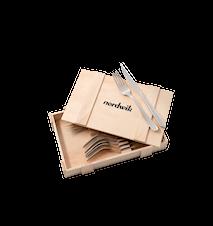 Steakbestek 12-delig, met houten doos, breedste handvat