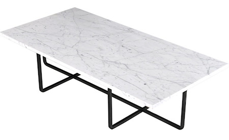 OX DENMARQ Ninety Table XL - Carrara marmor/svartlackerad metallstomme H40 cm