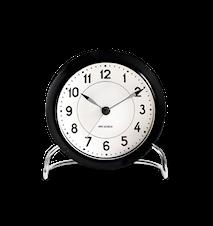 Arne Jacobsen Roman pöytäkello mustavalkoinen ø 11 cm, herätystoiminto