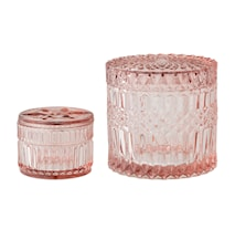 Glasbeholder med låg Rosa 2-pak