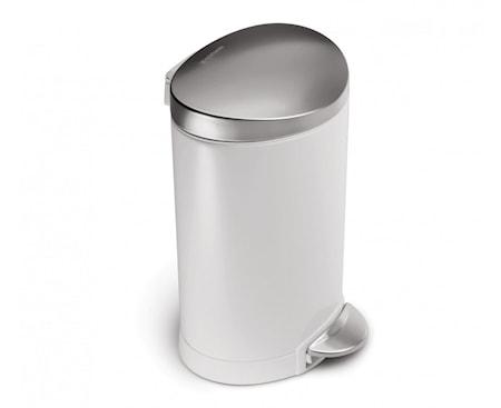 Pedaltunna Semi-Rund 6 liter Vit/Brons Stål